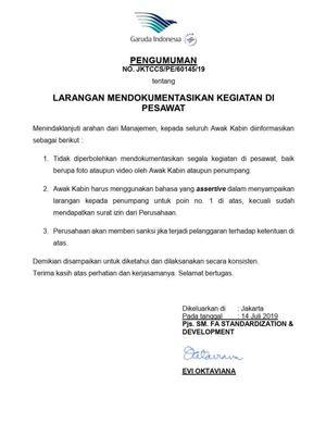 Pengumuman Garuda Indonesia
