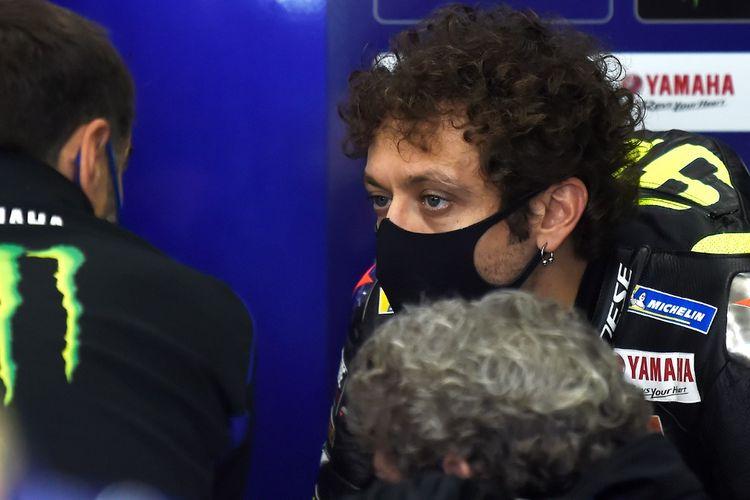 Valentino Rossi saat berlaga di MotoGP Eropa.