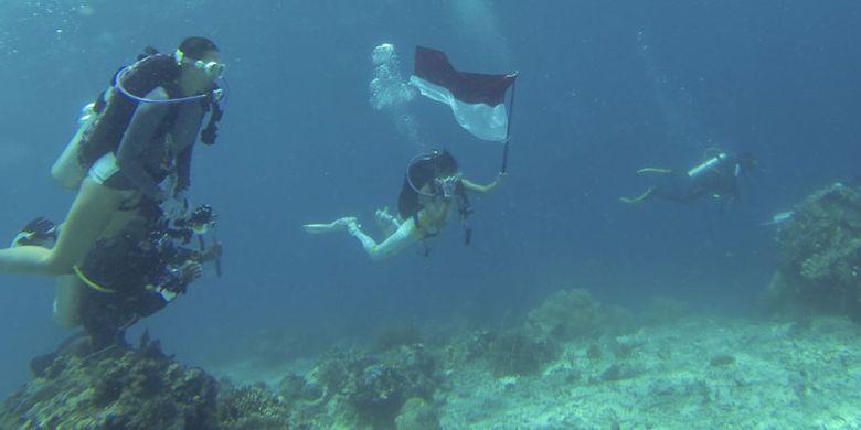 Menikmati keindahan bawah laut Morotai di Maluku Utara.