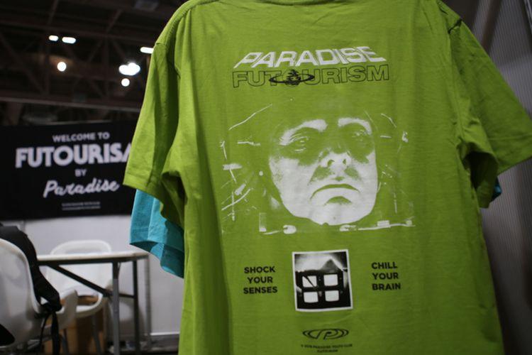Salah satu desain kaus Paradise yang dibawa ke ajang Agenda Show, di Long Beach, California.