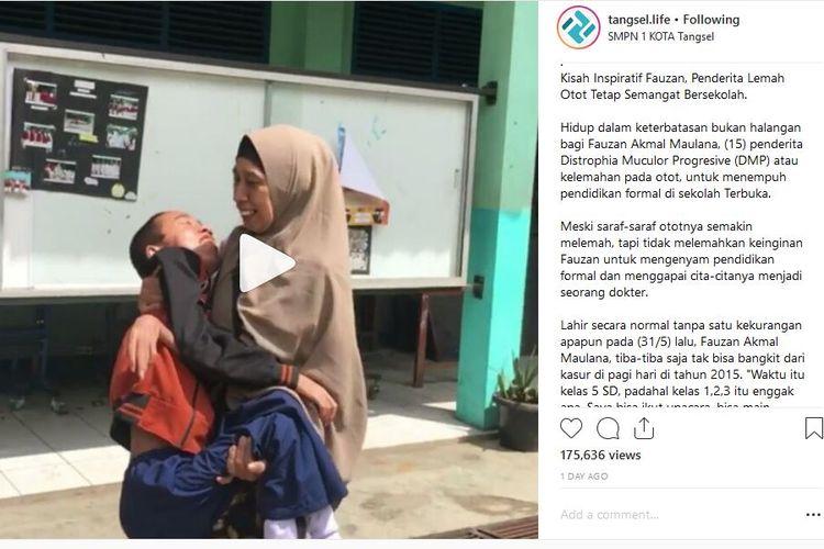 Semangat Fauzan, siswa SMP terbuka di Tangsel yang tetap semangat sekolah di tengah keterbatasan fisiknya. Fauzan menderita lemah otot sejak 2015.