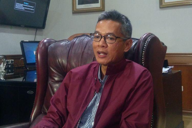 Komisioner Komisi Pemilihan Umum RI (KPU) Wahyu Setiawan di Jakarta, Rabu (14/2/2018).