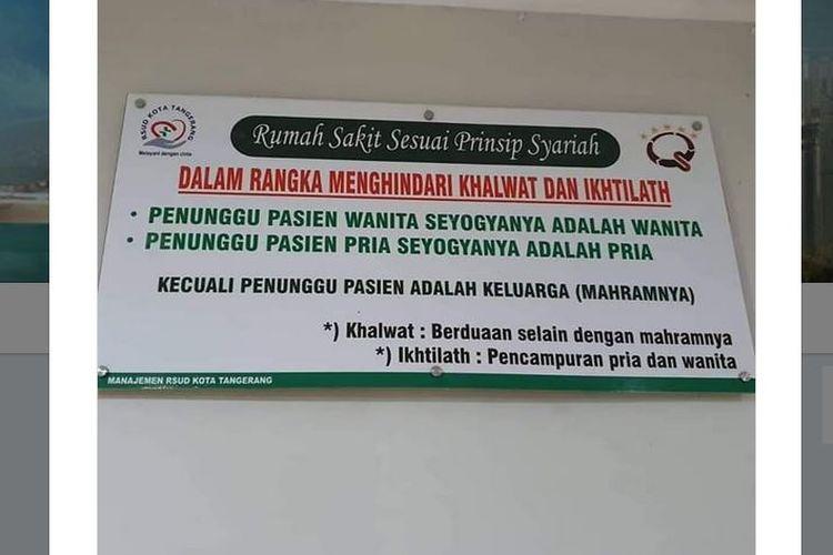 Viral Imbauan Pasien Ditunggui Mahram Di Rsud Tangerang Ini