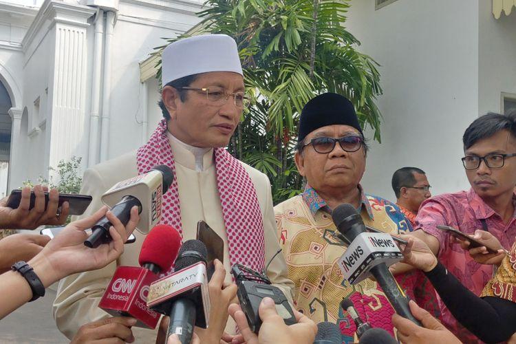 Imam Besar Masjid Istiqlal Nasaruddin Umar usai bertemu Jokowi di Istana, Rabu (16/5/2018).