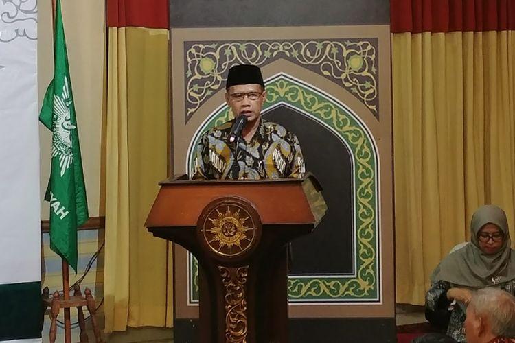 Ketua Umum PP Muhammadiyah Hader Nasir dalam pengajian PP Muhammadiyah di Jakarta, Jumat (9/3/2018).