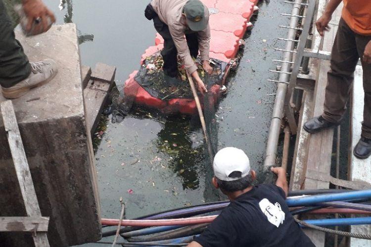 Petugas berupaya mencari buaya di Kali Anak Ciliwung, Jalan Gunung Sahari, Jakarta Utara, Kamis (11/10/2018).