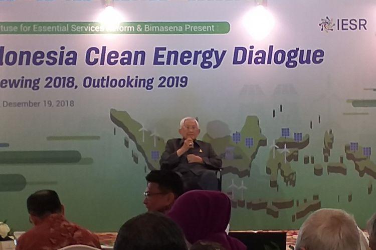 Ketua Bimasena, Subroto di acara Indonesia Clean Energy Outlook 2019 di Jakarta, Rabu (19/12/2018).