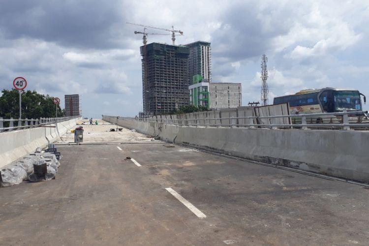 Flyover Rawapanjang, Kota Bekasi yang pembangunannya sudah mencapai 40 persen, Jumat (28/12/2018).
