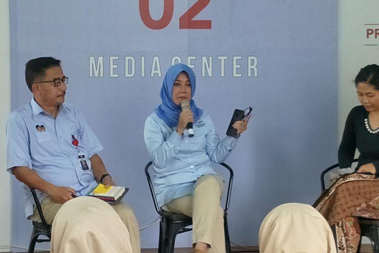 Juru bicara Badan Pemenangan Nasional pasangan Prabowo Subianto-Sandiaga Uno (BPN) Siane Indriani dalam sebuah diskusi di media center pasangan Prabowo-Sandiaga, Jalan Sriwijaya I, Jakarta Selatan, Sabtu (11/1/2019).