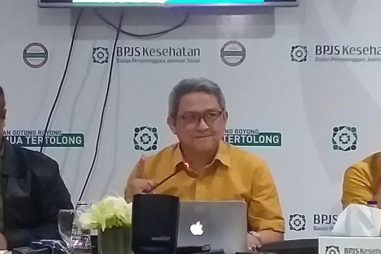 BPJS Kesehatan mengumumkan rencana penerapan aturan urun biaya fan selisih biaya kepada peserta JKN-KIS di kantor pusat BPJS Kesehatan, Jakarta, Jumat (18/1/2019).