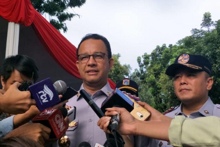 Gubernur DKI Jakarta Anies Baswedan di Lapangan IRTI, Monas, Jakarta Pusat, Senin (11/2/2019).