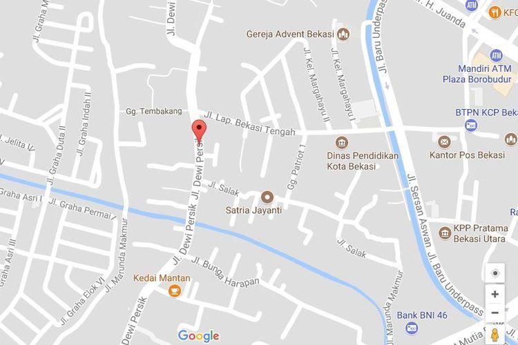 Jalan Dewi Sartika Kota Bekasi berubah nama menjadi Jalan Dewi Persik dalam aplikasi Google Maps, Bekasi, Senin (7/8/2017).