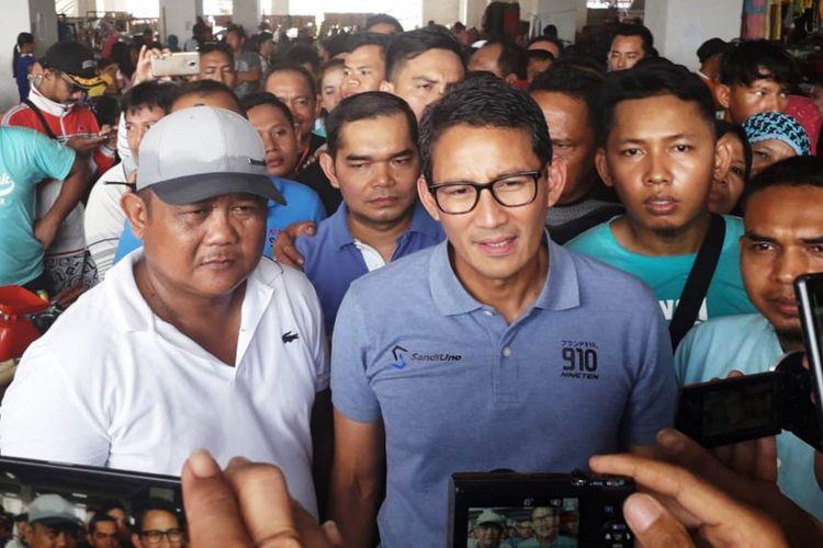 Sandiaga Salahuddin Uno datang ke Medan menemui para pendukungnya, Minggu (16/9/2018)