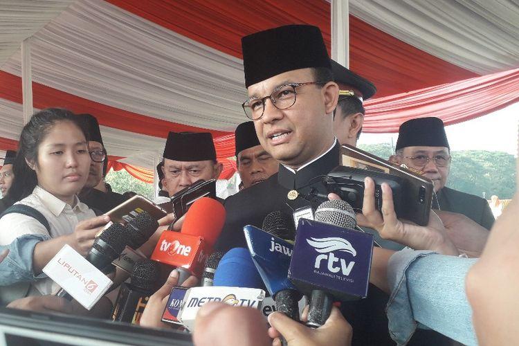Gubernur DKI Jakarta Anies Baswedab usai upacara peringatan HUT ke-492  Jakarta di Monas, Sabtu (22/6/2019).