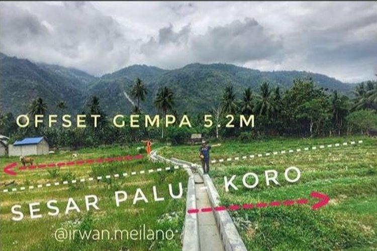 Pergeseran tanah horizontal di Palu akibat gempa akhir September lalu.