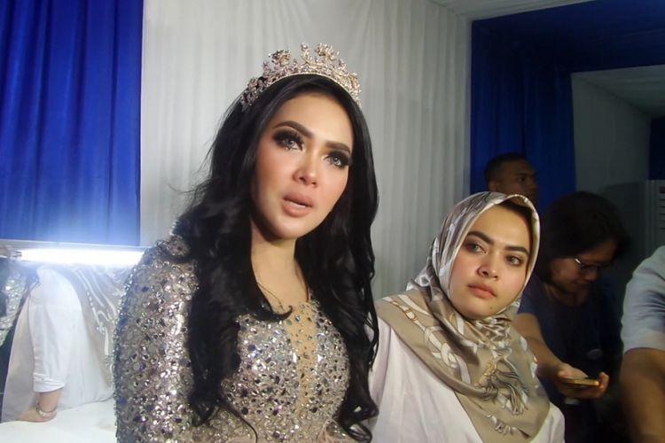 Syahrini usai menjadi pengisi acara HUT SCTV di JIExpo Kemayoran, Jakarta Pusat, Kamis (24/8/2017) malam.