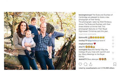 Saat Pangeran William dan Kate Middleton Rilis Foto Keluarga di Medsos