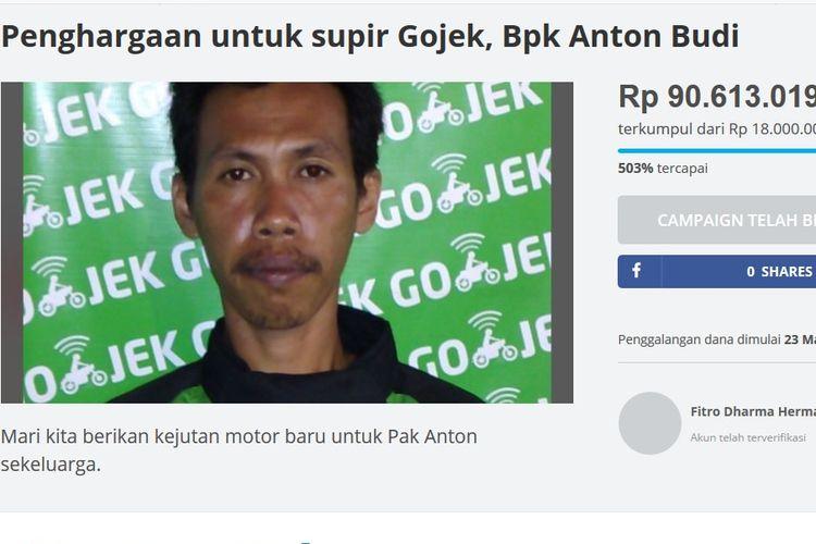 Anton Budi, sopir Gojek yang kehilangan motornya saat membeli pesanan Go-Food untuk pelanggannya.