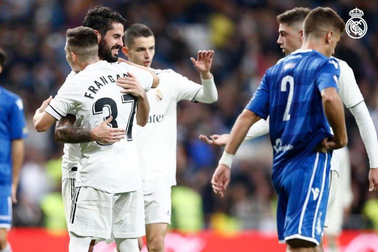 Isco merayakan golnya pada laga Real Madrid vs Melilla dalam babak 32 besar Copa del Rey di Stadion Santiago Bernabeu, 6 Desember 2018.