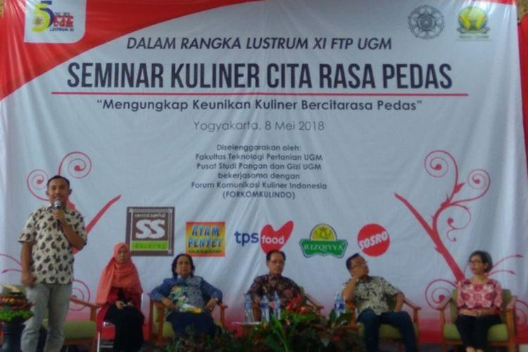 Seminar Kuliner Citarasa Pedas dari FTP UGM, Selasa (8/5/2018).