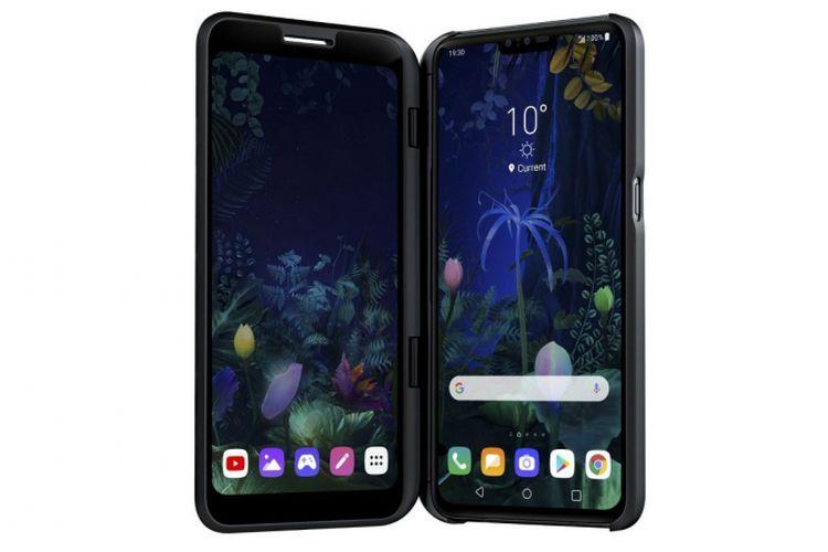 Ilustrasi LG V50 ThinQ dengan secondary case