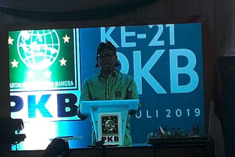 Ketua Umum PKB Muhaimin Iskandar memberi sambutan pada acara Harlah ke-21 PKB di Kantor DPP PKB, Jakarta Pusat, Selasa (22/7/2019).