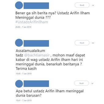 Tangkapan layar twit beberapa warganet yang menanyakan kebenaran pemberitaan meninggalnya Ustadz Arifin Ilham.