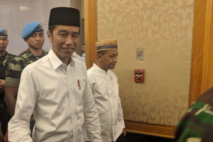 Presiden Joko Widodo pada acara Silaturahim Nasional dan Buka Puasa Bersama HIPMI di Ritz Carlton, Kuningan, Jakarta, Minggu (26/5/2019).