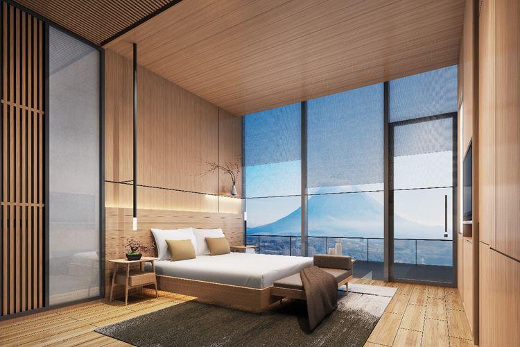 Salah satu kamar di Skye Niseko.