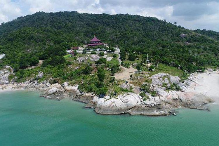 Foto udara Puri Tri Agung di Kabupaten Bangka diambil menggunakan kamera drone.