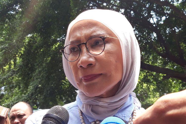 Terdakwa kasus penyebaran berita bohong atau hoaks, Ratna Sarumpaet, di Polda Metro Jaya, Kamis (4/4/2019)