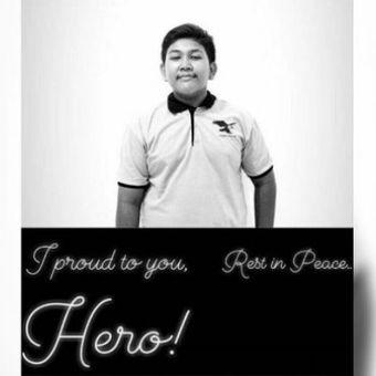 Daniel Agung Putra Kusuma, anak 15 tahun yang meninggal dunia dalam ledakan bom di Gereja Pantekosta Pusat Surabaya (GPPS) di Jalan Arjuno, Surabaya, Minggu (13/5/2018).