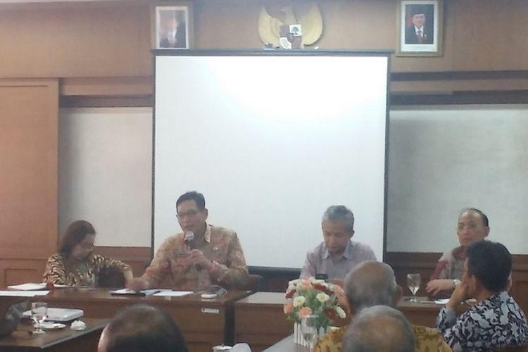 Diskusi tentang bencana alam yang diadakan di Universitas Indonesia, Jakarta, Senin (8/10/2018).