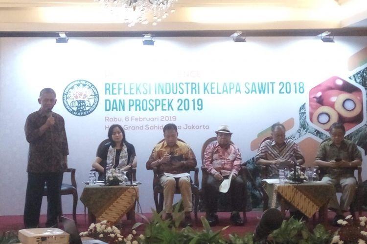 Gabungan Pengusaha Kelapa Sawit Indonesia (GAPKI) saat menggelar konferensi pers di Jakarta, Rabu (6/2/2019).