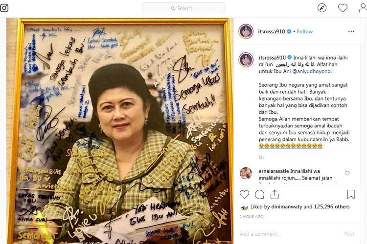 Bidik layar postingan Instagram Rossa yang mengucapkan belasungkawa untuk mendiang Ani Yudhoyono.