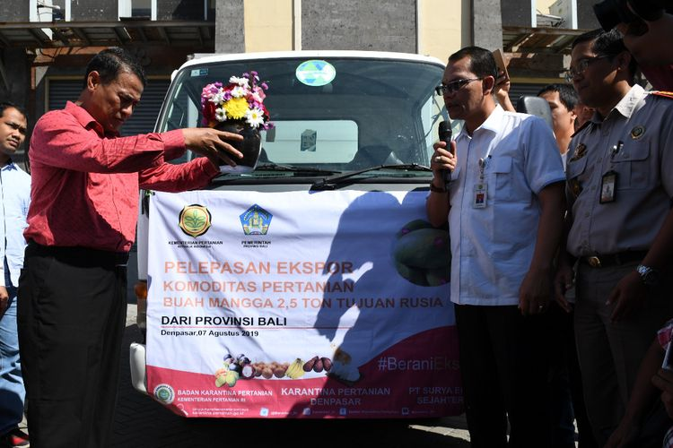 Menteri Pertanian Andi Amran Sulaiman melepas ekspor komoditas pertanian buah mangga dari Provinsi Bali, Rabu (7/8/2019).