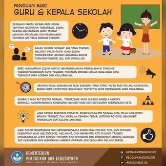 Info grafis peran sekolah menghadapi bahaya terorisme yang diberikan Kemendikbud.