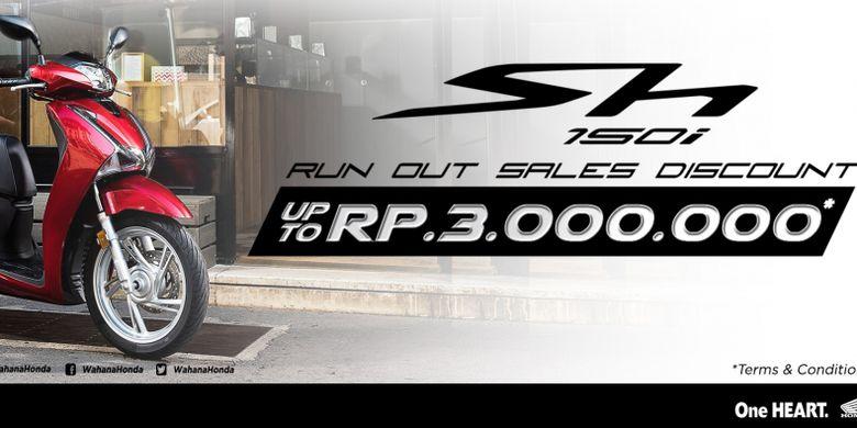 Informasi diskon dengan besaran Rp 3 juta untuk Honda SH150i yang tertera di website main diler Honda, Wahana Makmur Sejati.