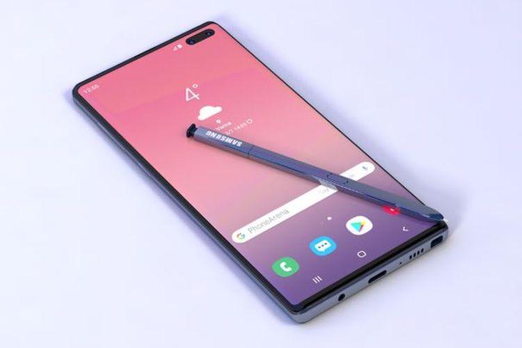 Ilustrasi render Galaxy Note 10 bagian depan dilengkapi dengan S-Pen