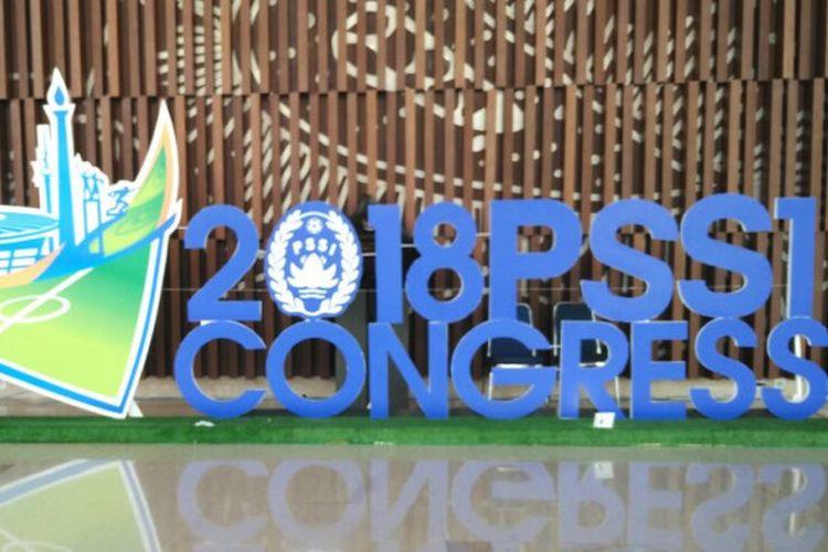 Logo Kongres PSSI 2018 yang terpampang di salah satu sudut Indonesia Convention Exhibition (ICE), Bumi Serpong Damai (BSD), Tangerang, Banten, Sabtu (13/1/2018) siang WIB.