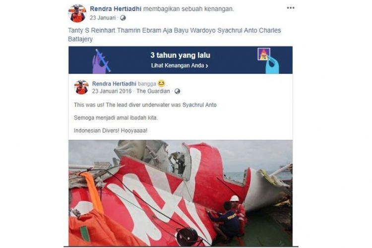 Unggahan Facebook yang menyebutkan Syachrul pernah terlibat dalam pencarian korban pada kecelakaan Air Asia 2014 silam.