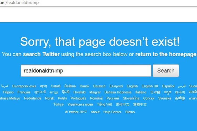 Twitter Trump hilang