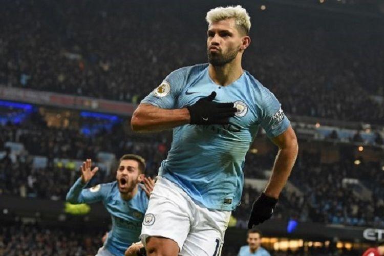 Sergio Aguero merayakan golnya pada laga Manchester City vs Liverpool di Stadion Etihad dalam lanjutan Liga Inggris, 3 Januari 2019.