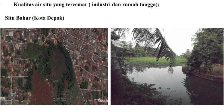 Kondisi situ yang rusak akibat pencemaran limbah industri dan rumah tangga.