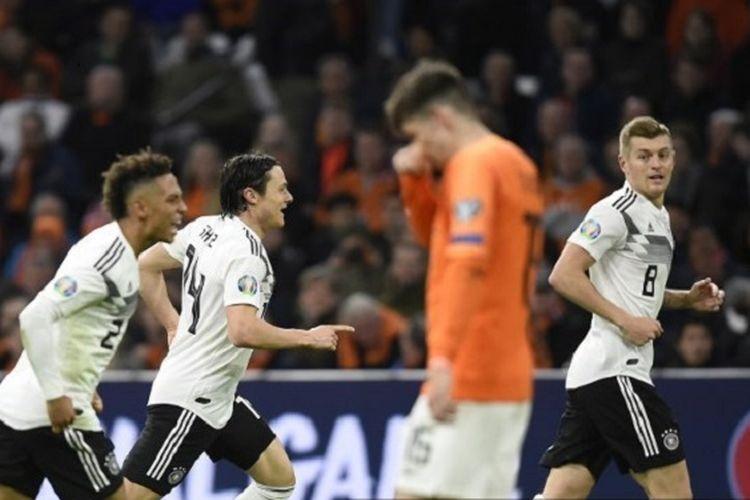 Nico Schulz merayakan golnya pada pertandingan Belanda vs Jerman di Johan Cruyff Arena pada babak kualifikasi Piala Eropa 2020, 24 Maret 2019.