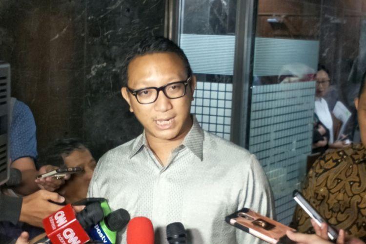 Wakil Sekretaris Jenderal Partai GerindraAryo Djojohadikusumo saat ditemui di Kompleks Parlemen, Senayan, Jakarta, Rabu (28/3/2018).