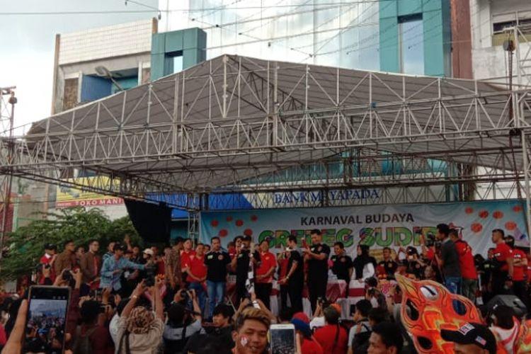 Wali Kota Solo, FX Hadi Rudyatmo saat memberi sambutan di acara Grebeg Sudiro 2019, Minggu (3/2/2019).
