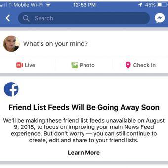 Tangkapan layar notifikasi Facebook yang mencabut fitur Friend List Feed