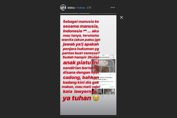 Bidik layar Instagram Story milik kekasih Vanessa Angel, Febri Ardiansyah atau yang karib disapa Bibi.