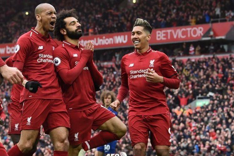 Mohamed Salah merayakan gol yang dicetak pada laga Liverpool vs Chelsea di Liga Premier Inggris, 14 April 2019.